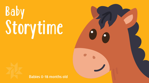 Illustration of a horse on a yellow background with the text Baby Storytime