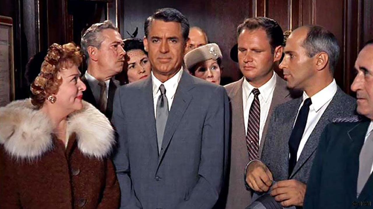 awkward people in elevator. cary grant elevator scene in north by northwest awkward people