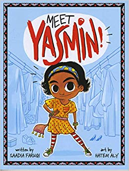 Book cover of Meet Yasmin depicts a smiling girl with a yellow dress and red and white striped tights