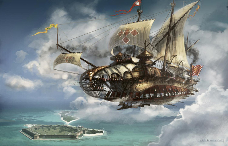 large airship in the clouds over a walled island