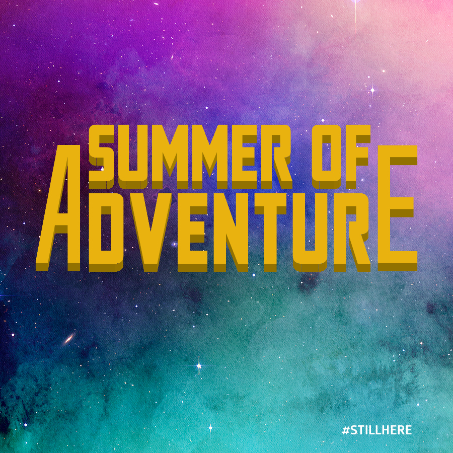 "Image of Summer of Adventure program logo featuring the words ""Summer of Adventure"" in large yellow letters on purple, pink, and turquoise background."