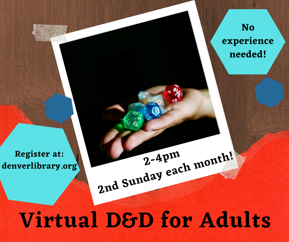 Words with Virtual DnD for Adults and a picture of a hand holding a set of dice on a black background.