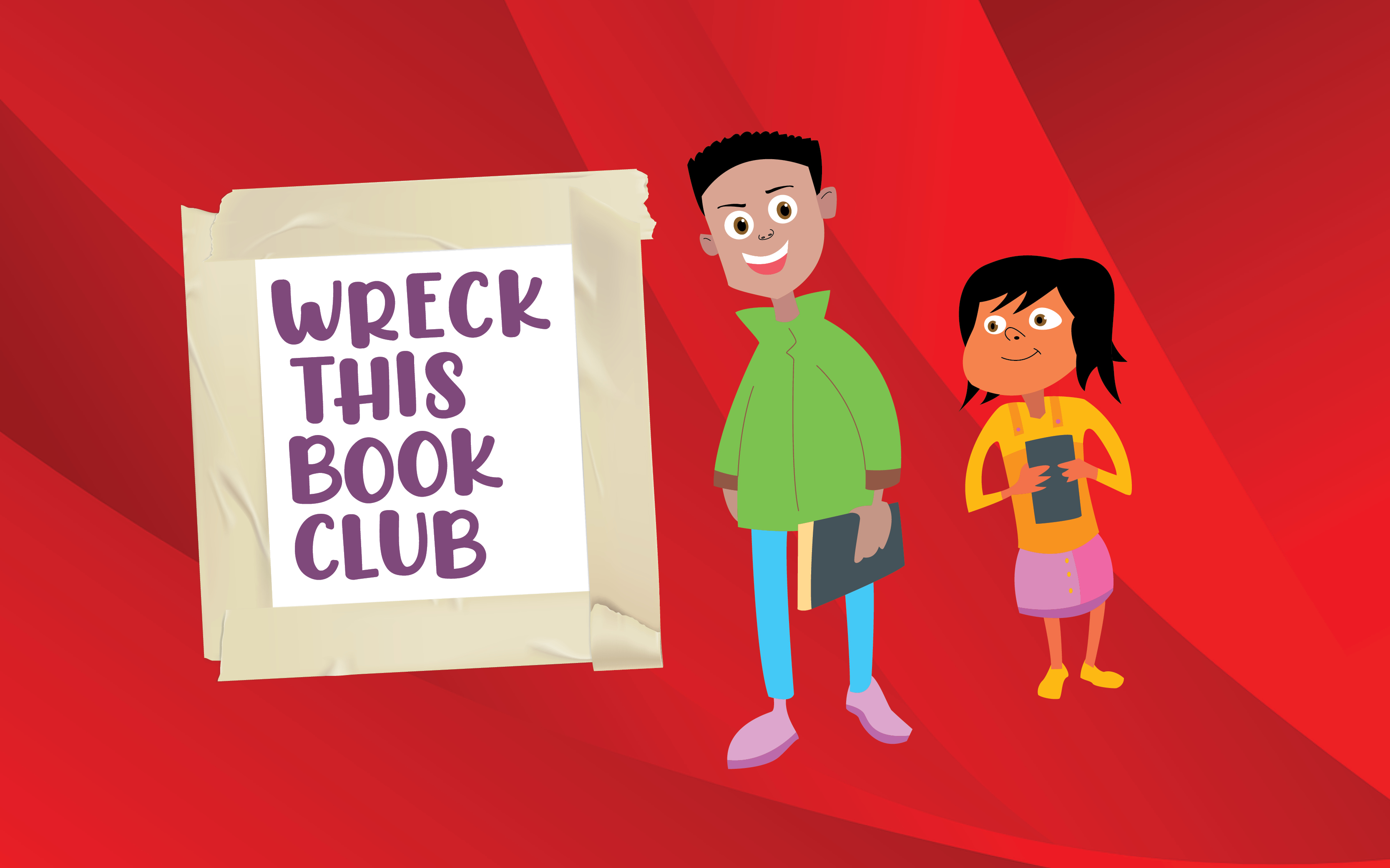 Image of a boy and a girl holding books on a red background