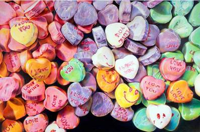"Colorful photograph of Candy Hearts. Sentences such as ""I Love You"", ""Kiss Me"", ""Love Wins"", & a smiley face have been written on top of candies."