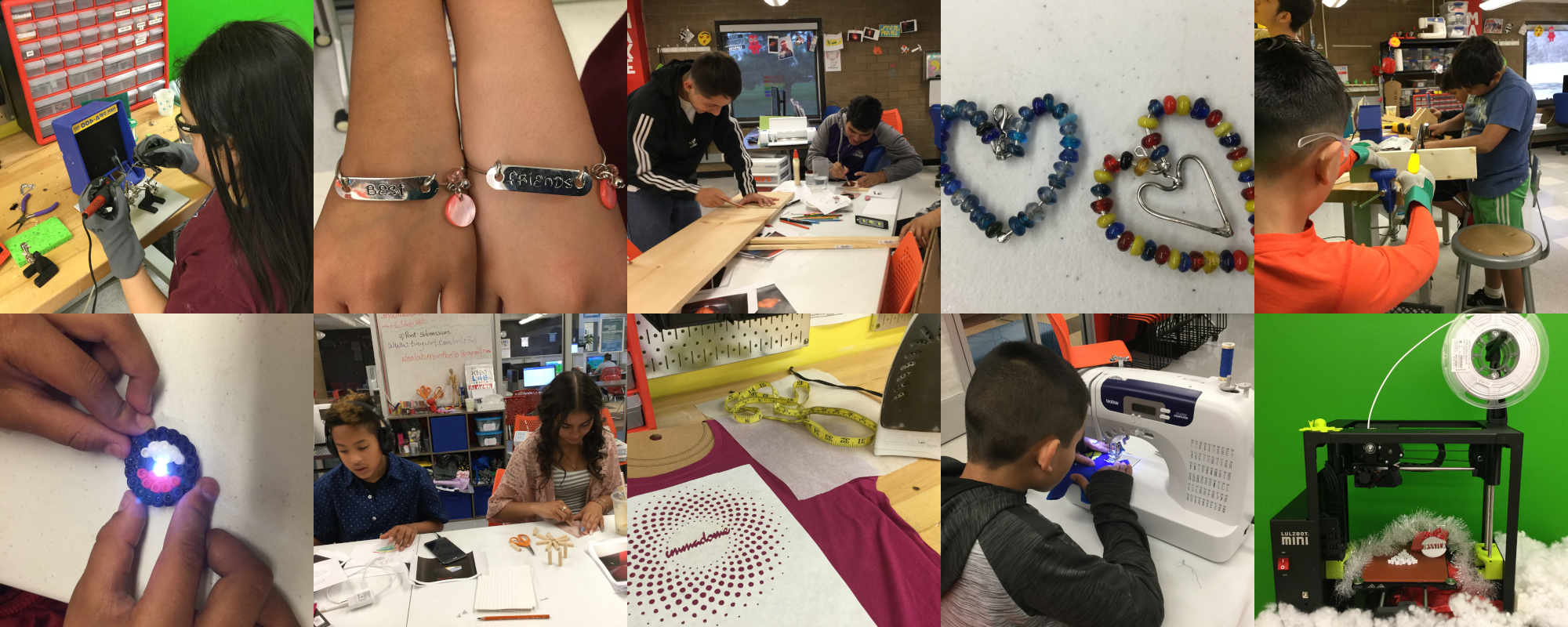Examples of people working and making in the Montbello ideaLAB.