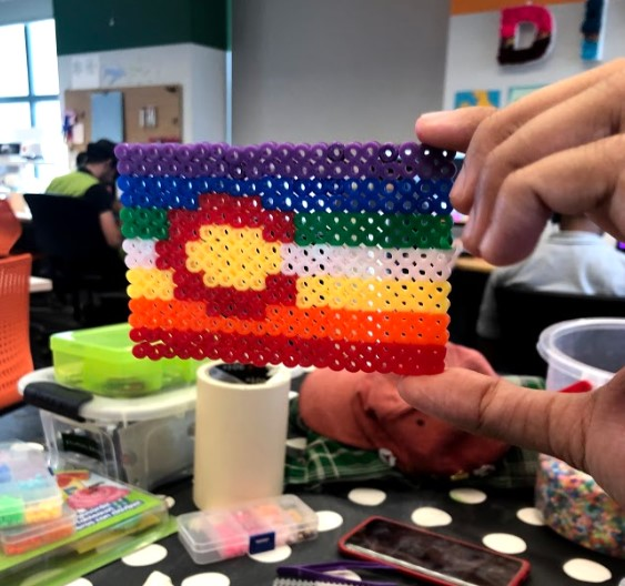 Colorado Rainbow Pride flag made with melted beads