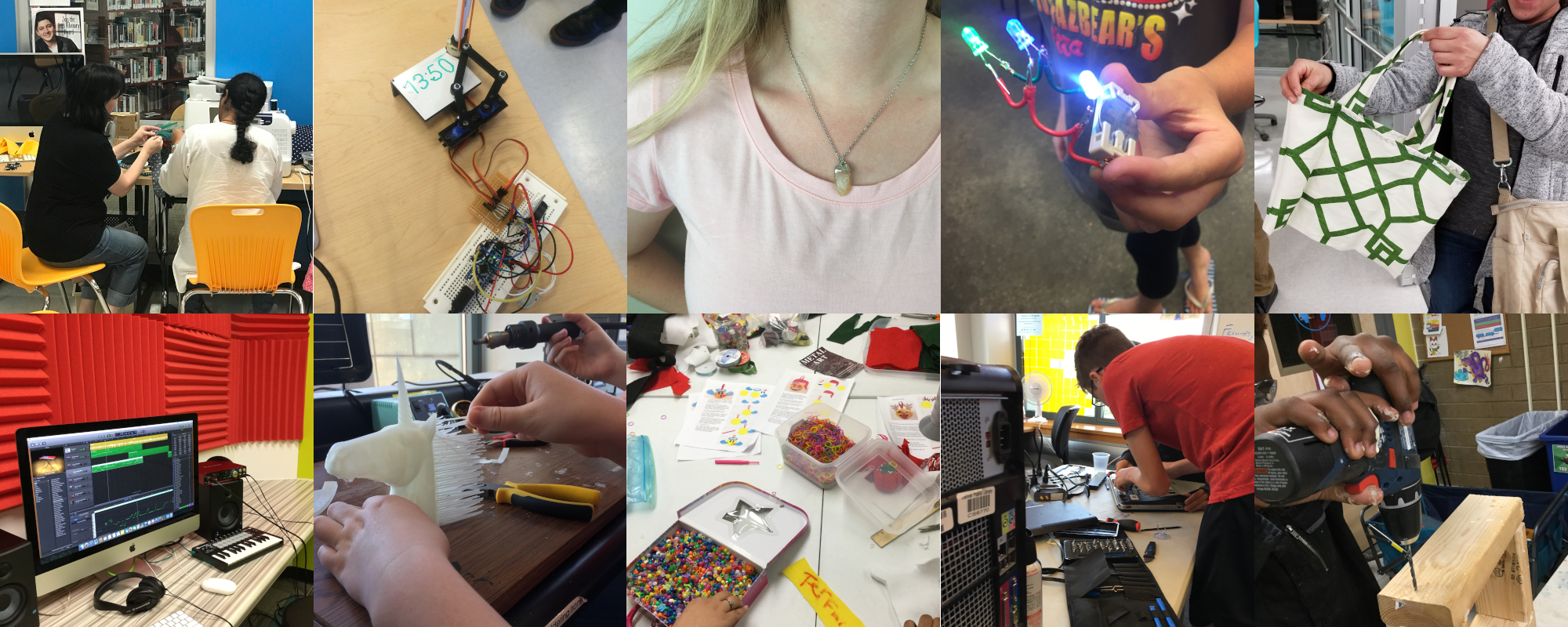 Examples of projects done in ideaLABs across Denver: sewing, repairs, 3D printing, beading, and more.