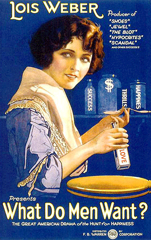 "The poster for What Do Men Want showing a drawing of a woman holding a spoon and a bottle that says ""love."""