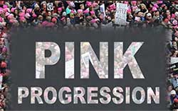 Pink Progression text superimposed over a group of protesters