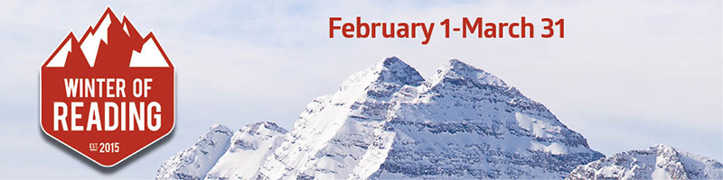 "Image of a mountain peak with snow and text that says ""Winter of Reading: February 1-March 31"""