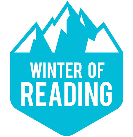 "Image of a stylized mountain with the words ""Winter of Reading"""
