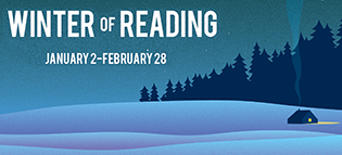 "Illustration of a house with smoke coming out of the chimney in a field of snow under the stars and the words ""Winter of Reading"""