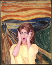 drag queen in front of The Scream
