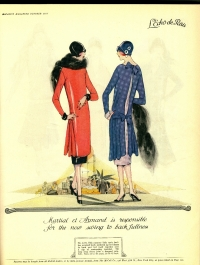 "McCall's Magazine, October 1925: Pattern No. 4228: ""This contrary little tunic frock has reversed itself, gathered up its fullness in back and tied itself together over a slip of contrasting fabric."""