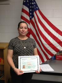 A woman who received citizenship with help from DPL's Plaza program.