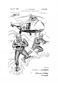 Soldiers running from helicopter.