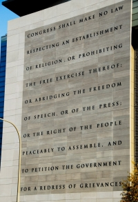 Text of the First Amendment on the wall of the Newseum, Washington, DC. Photo by Jack Mayer, CC BY-NC-SA 2.0 license.