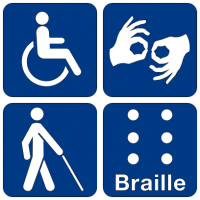 A collection of pictograms representing a person in a wheelchair, hands doing sign language, a person with a white cane, and braille. Image via Wikimedia Commons.