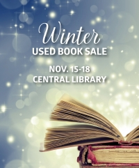 "Winter scene with books and words, ""Winter Used Book Sale, Nov. 15-18"""