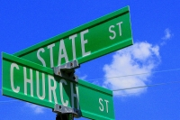 Street sign showing the intersection of Church and State streets. Photo by Ben McCleod.