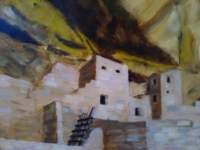 painting of adobe village