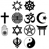 Symbols of various religions practiced in the US.