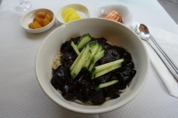 The Korean dish jajangmyeon, black bean noodles.