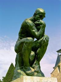 The Thinker sculpture by Rodin, public domain photo by Andrew Horne https://commons.wikimedia.org/wiki/File:The_Thinker,_Rodin.jpg