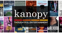 Kanopy logo with movie images behind
