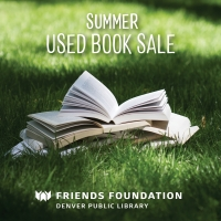 "Books open and lying on grass in summer with words ""Summer Used Book Sale"" and DPL Friends Logo"