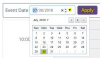 Image of a calendar where a date can be selected