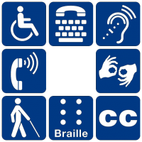 Image of 8 icons representing accessibility including TTY, closed captioning, braille, and sign language