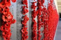 Poppies on a memorial Wall - Creative Commons licensed via Pixabay