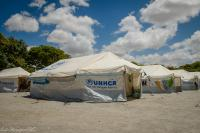 United Nations tent in refugee camp