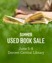 "A child reading in the grass with words, ""Summer Used Book Sale, June 5-8"""