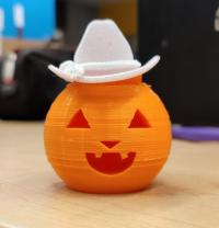 3D printed jack o lantern with a cowboy hat
