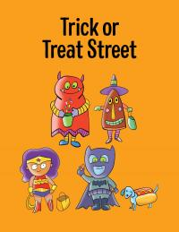 Graphic of Halloween characters and Trick or Treat Street