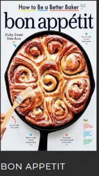 The cover of Bon Appetit magazine with cinnamon rolls in an iron skillet