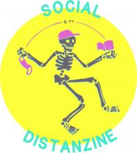 Social Distanzine Logo with dancing character