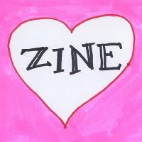 "art that has the word ""zine"" written inside of a drawn heart"
