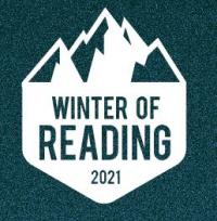 white mountains icon on teal background that reads Winter of Reading 2021