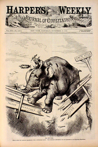 cover Harper's Weekly showing Republican elephant