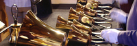 Handbells being rung from the outside