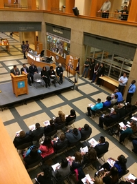 Group of people at the Naturalization Ceremony at Central Library
