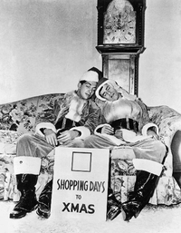 Dean Martin and Jerry Lewis, a publicity shot from their Christmas special.