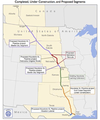 Map of the proposed Keystone XL Pipeline from Canada to Texas refineries