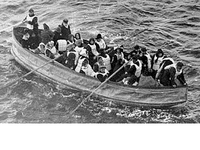 One of the collapsible lifeboats from Titanic, not filled to capacity.