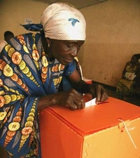 Casting a vote in the Democratic Republic of the Congo.