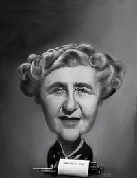 Caricature of Agatha Christe by artist Rocky Sawyer
