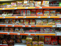 Shelves of Ramen at Super H Mart